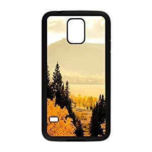 Personalized Clear Phone Case For Samsung Galaxy S5,glam autumn forest beauty scene