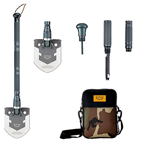 Startostar Folding Shovel Military Entrenching Tool with Survival Knife, Fire Starter, Whistle, Compass, Carry Bag for Camping, Backpacking, Hiking, Car, Garden