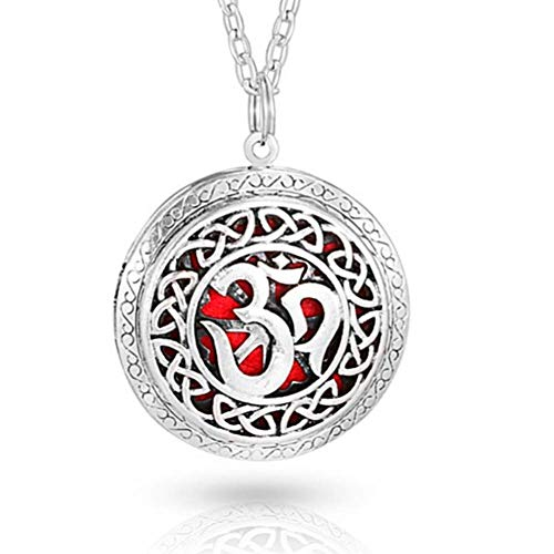 Soul Statement Essential Oil Om Locket Necklace Aromatherapy Charm Reusable Pads Included (Yoga Om)