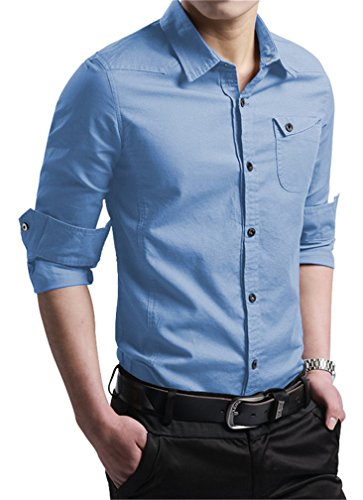 JZOEOEU Casual Slim Fit Shirt Cotton Long Sleeve Button Down Dress Shirt for Mens LightBlue Aisan 2xL