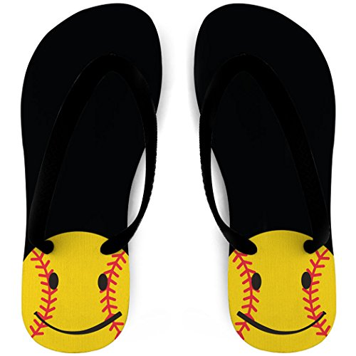 Softball Flip Flops Smiley Svart