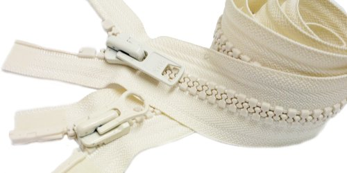 "Sport Parka Dual Separating Zipper 36 Inch - Off White (Special) Vislon YKK #10 ""2-way"" Molded ~ Extra Heavy Duty (1 Zipper /Pack)"
