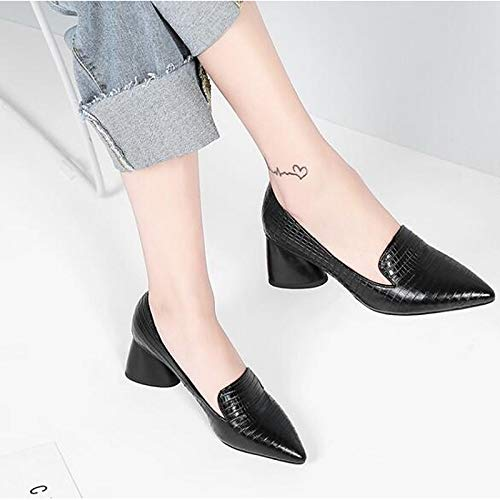 Black Sheepskin Spring ZHZNVX Chunky Shoes Heels Pump Black Basic Women's Heel BEqHqwv