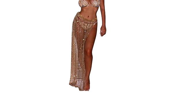2609e37484 GRMO-Women See Through Wrap Beach Mesh Swimwear Cover up Skirt Gold US XS  at Amazon Women's Clothing store: