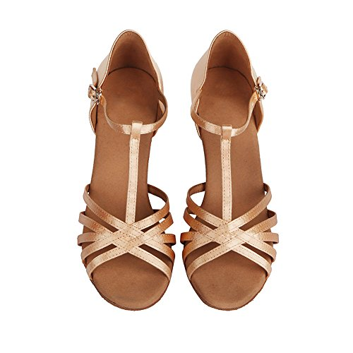 HROYL Zapatos de baile/Zapatos latinos de satén mujeres ES-403 Beige
