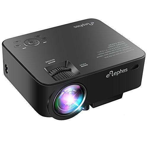 ELEPHAS 1500 Lumens Home Theater Projector, 1080P Portable Mini Video Projector for Home Cinema Theater Entertainment Games Parties, Black (Backyard Baseball Wii Game)