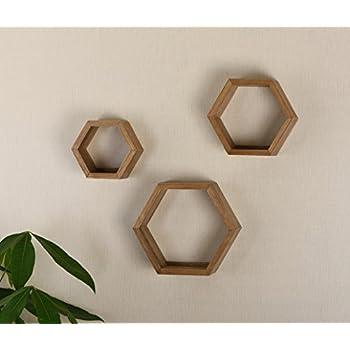 V-Light Wood Wall, Oak Finish, Set of Three Cubes (VW151006O) Decorative Shelving