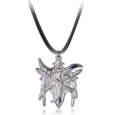 Onlyfo World of Warcraft Night Elf Pendant Necklace with Jewelry Box,World of Warcraft Necklace for Boys, Girls (Silver)