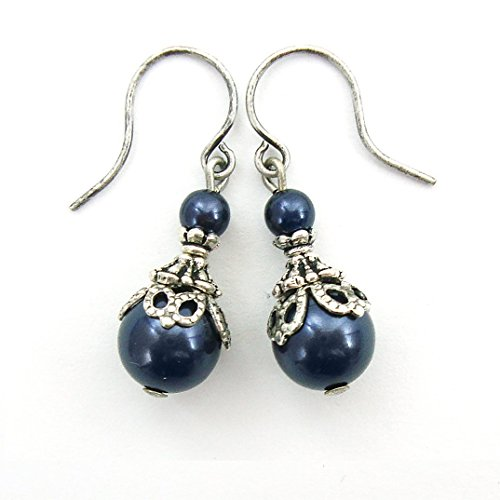 Midnight Blue Swarovski Crystal Simulated Pearl Victorian Style Earrings (Victorian Blue Crystal)