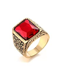 Mens Stainless Steel Square Red Rhinestone Ring for Wedding Engagement Promise,Gold,Size 12