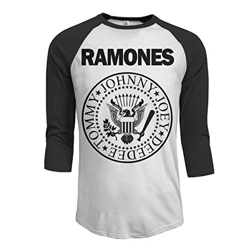 JeremiahR Ramones Mens 3//4 Sleeve Raglan Baseball Tshirts Black