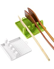 Xijuer 2PCS Kitchen Utensil Rest, Spoon Rests with Drip Pad, Utensil Holder for Stove Top, Hang Hole Design, Heat-Resistant, BPA - Free