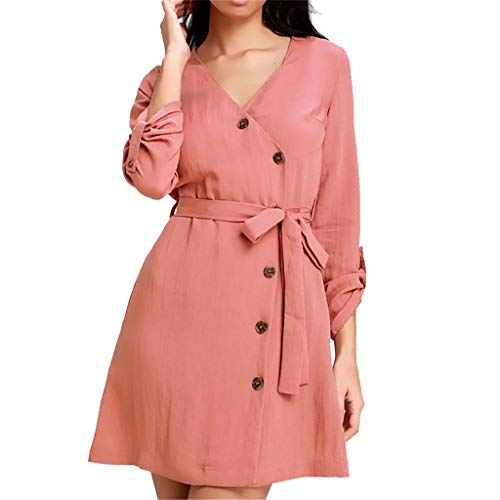 ♖Loosebee♜ Fashion Women Solid V-Neck Three Quarter Sleeve Buttons Bandage Chiffon Dress Summer Casual Breathable Skirt ()