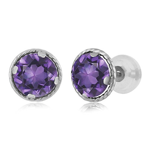 14K White Gold Round Purple Amethyst Gemstone Birthstone Stud Earrings (1.40 cttw, ()