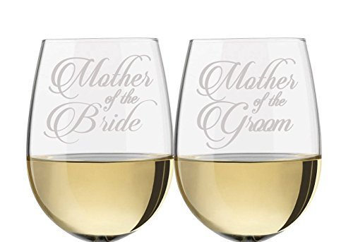Mother of the Bride & Mother of the Groom Stemless Wine Glass Set, wine glass for mother of the bride, wine glass for mother of the groom, gifts for mother -