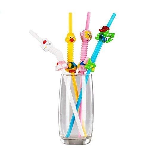 Kids Drinking Straws by Viki-Liki, Animal Drinking Straws for Kids Party Flexible Drinking Straws, Reusable Extra Long Straws, Cartoon Plastic Straws-Safe BPA Free,8pcs. ()