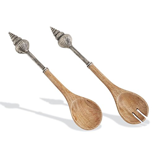 Shell Pie Server - Mud Pie 4631043 Metal and Wood Shell Salad Serving Utensils, One Size, Brown/Silver