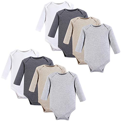 Hudson Baby Unisex Baby Long Sleeve Cotton Bodysuits, Heather Gray Long Sleeve 8 Pack, 12-18 Months (18M) from Hudson Baby