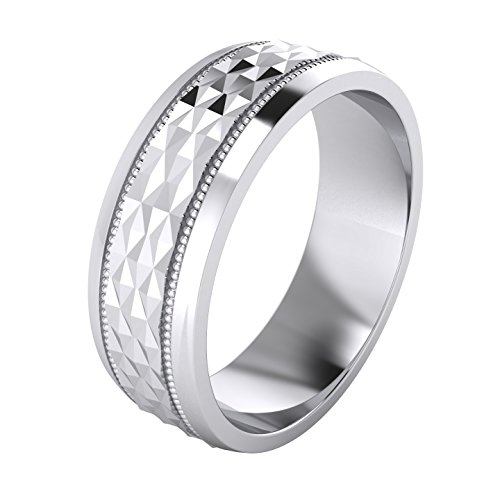 LANDA JEWEL Heavy Sterling Silver 7mm Mens Wedding Band Diamond Cut Sparkle Patterned Ring Comfort Fit Polished (12)