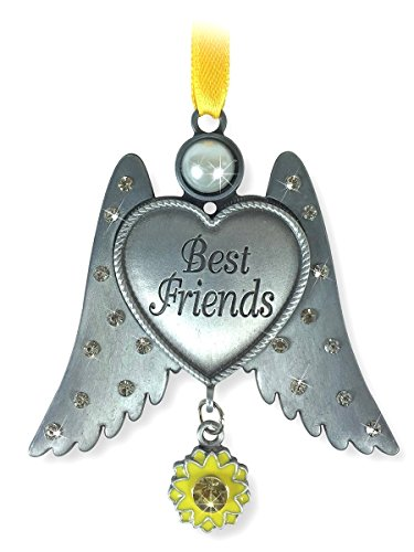 Friends Ornament - Pewter Finish Angel Wings with Heart Ornament - Jeweled Wings with a Sunflower - Christmas Ornament Friendship
