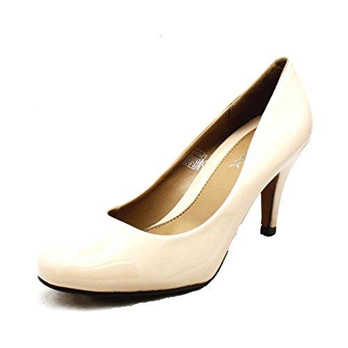 Zapatos de las señoras de la corte del talón bajo Nude Patent