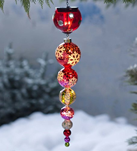 Solar Finial Holiday Ornament in Glass, in Red