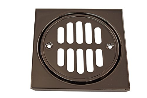 Westbrass R313-12 Shower Strainer Set Grill with Tile Square, Oil Rubbed Bronze