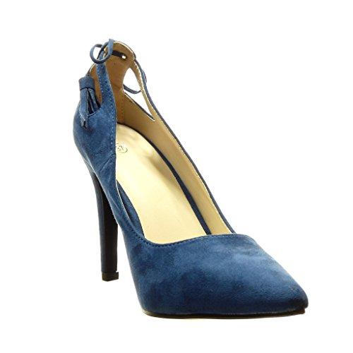 Angkorly - Chaussure Mode Escarpin stiletto sexy femme pom-pom frange Talon haut aiguille 10 CM - Bleu