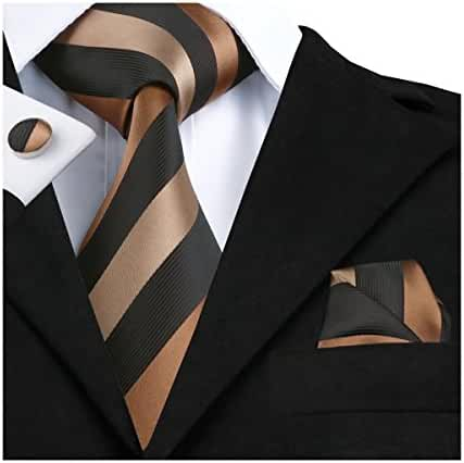Hi-Tie Brown Woven Silk Necktie Tie Handkerchief Cufflinks set