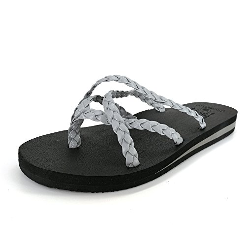 Braid Flip Flop Sandal - KuaiLu Yoga Mat Women's Braid Leather Flip Flops Arch Support Cross Strappy Thong Sandals Non Slip Grey