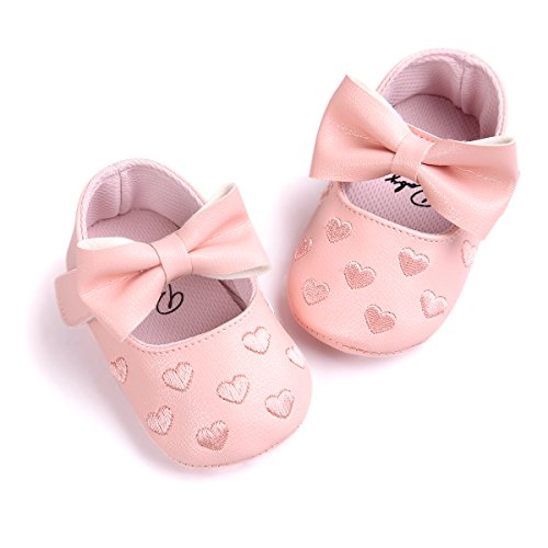 Itaar Baby Girl Moccasins Bow PU Leather Heart Embroidered Soft Soled Shoes for Infants Toddlers - Image 6