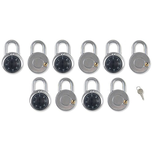 Combination Locks with Single Override Control Key Padlocks Ideal for Lockers [946-10] - Set of 10 Candados de Combinacion by Madol (Image #5)