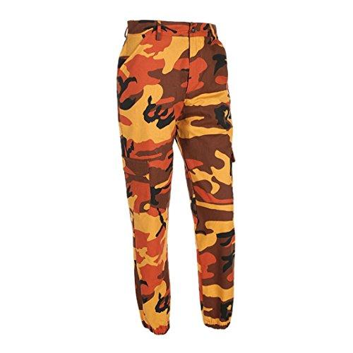 Rawdah Pantalones de mujer Camo Cargo Pantalones de camuflaje Casual al aire libre Pantalones vaqueros, Elegantes y de moda te hacen más atractivo naranja