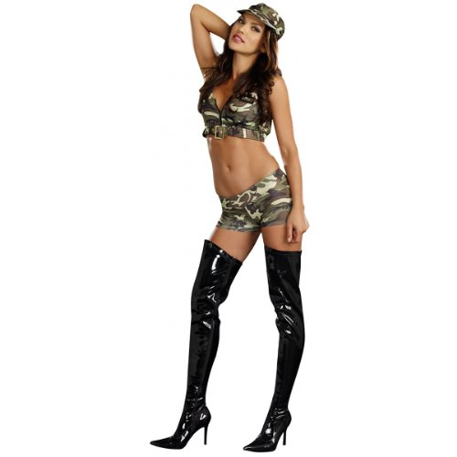 Womens Army Costumes For Halloween (Camo Roxie Adult Costume - Small/Medium)
