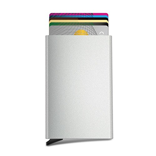 Wallet Credit Card Holder - Aluminum Stainless Steel Card Holder,RFID Blocking Slim Minimalist Card Holder/Travel Wallet For Credit Cards Silver