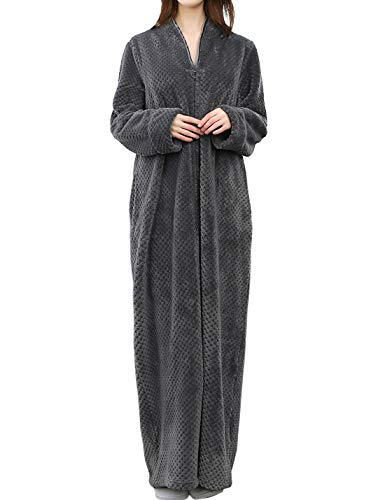 Jenkoon Womens Zipper Front Fleece Flannel Robe Plush Long Warm Bathrobe Loungewear with Pockets (Grey, Small) (Flannel Robe Women Zipper)