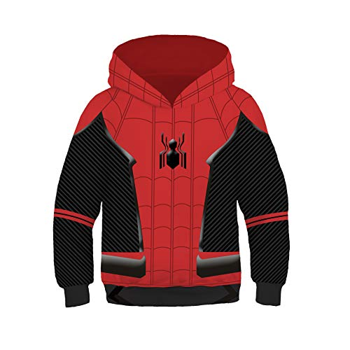 Anime Kids Superhero Spiderman Far from Home Hoodie Halloween Cosplay Costume 3D Pullover Pocket Sweatshirt(Far from Home, Small)]()