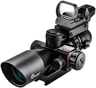 CVLIFE 2.5-10x40 Tactical Rifle Scope Optics Hunting Rifle Scope Red & Green Illuminated Crosshair Gun Scope with Red Laser, Rail Mount and 4 Reticle Dot Open Reflex Sight