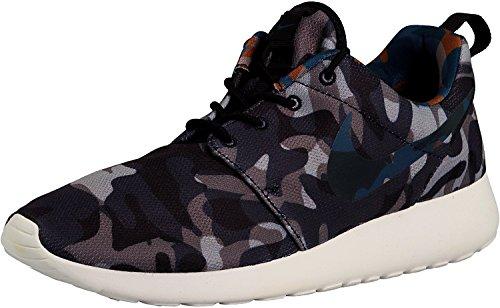 Roshe Una impresión zapatos corrientes de Nylon BLACK/BRGD BLUE-ANTHRACITE-COOL GREY