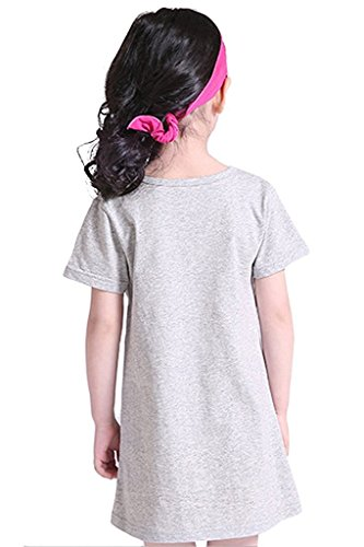 Abalaco Girls Kids Cotton Summer Cartoon Nightgown Sleepwear Dress Pretty Home Dress 3-12T (11-12 Years, Pink heart) by Abalaco (Image #4)