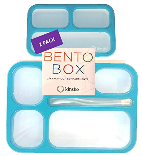 26110abf74f7 Bento-Box Lunch and Snack Container Set   Leak-proof Lunch-Boxes +  Containers for Snacks   School or Work for Kids Boys Teens   BPA Free    Accessories ...