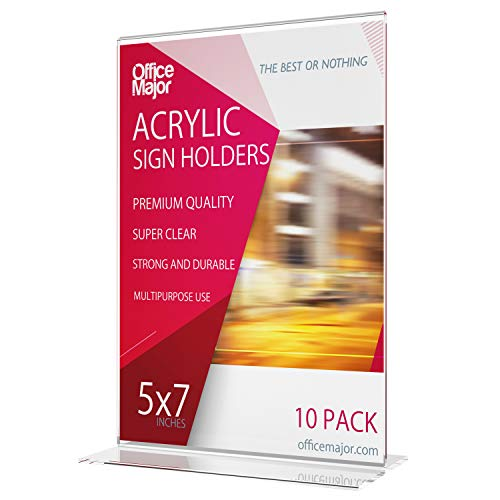 OfficeMajor Acrylic Sign Holder 5x7 - Table Tent Menu Holder Plastic Picture Frames Table Top Menu Stand Vertical Double Sided Sign Holders, Box of 10 (5x7 Size)