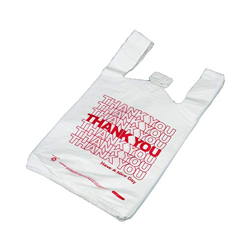 - White 8x4x16 14 Microns T Shirt Thank You Plastic Shopping Bags 1/10 Size Red Print Case:1000