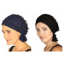 ZHW Women's Ruffle Chemo Hat Beanie Scarf, Turban Headwear for Head Wrap