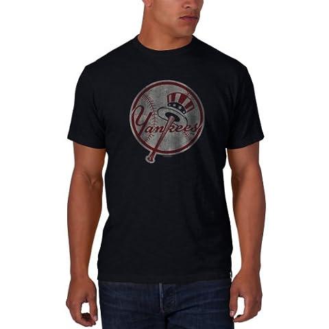 MLB New York Yankees Men's '47 Basic Scrum Tee, Fall Navy - Logo, Small - New York Yankees Fabric