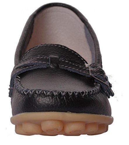 Ruhiger zufälliger Beleg der gelassenen Frauen-Rindleder-flachen auf treibenden Müßiggänger-Schuhen Schwarz-2