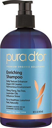 PURA D'OR Enriching Shine Shampoo Premium Organic Argan Oil, Aloe Vera, Vitamins & Biotin, 16 Fluid (Gentle Shine Enhancing Shampoo)
