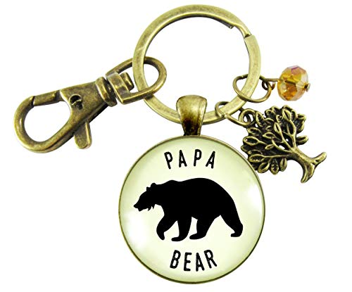 Papa Bear Keychain Fathers Rustic Bronze Pendant Key Ring Gift For New Expectant Dad Father Grandpa