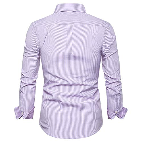 Effulow Men's Fashion Long Sleeve Shirt Polyester Pinstripe Print Slim Summer Tops Dress Shirts for Men Pink