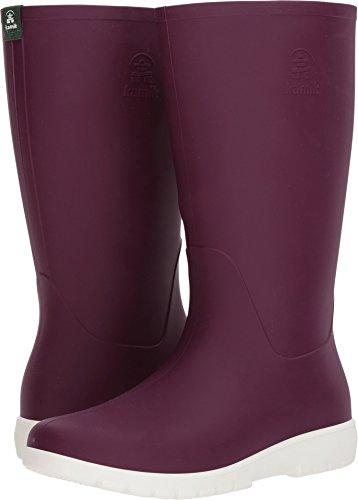 Kamik Women's Jessie Rain Boot Dark Purple and White 9 Medium US